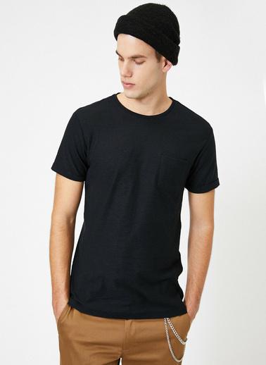 Koton Bisiklet Yaka Cep Detayli Flamli Kumas Slim Fit Basic T-Shirt Siyah